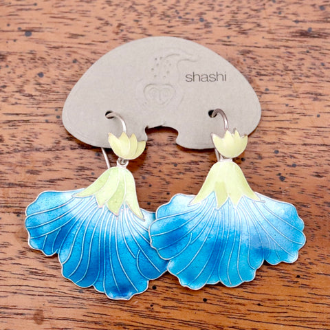 Vintage Shashi Iris Ice Blue and Lemon Gold-Vermeil Earrings