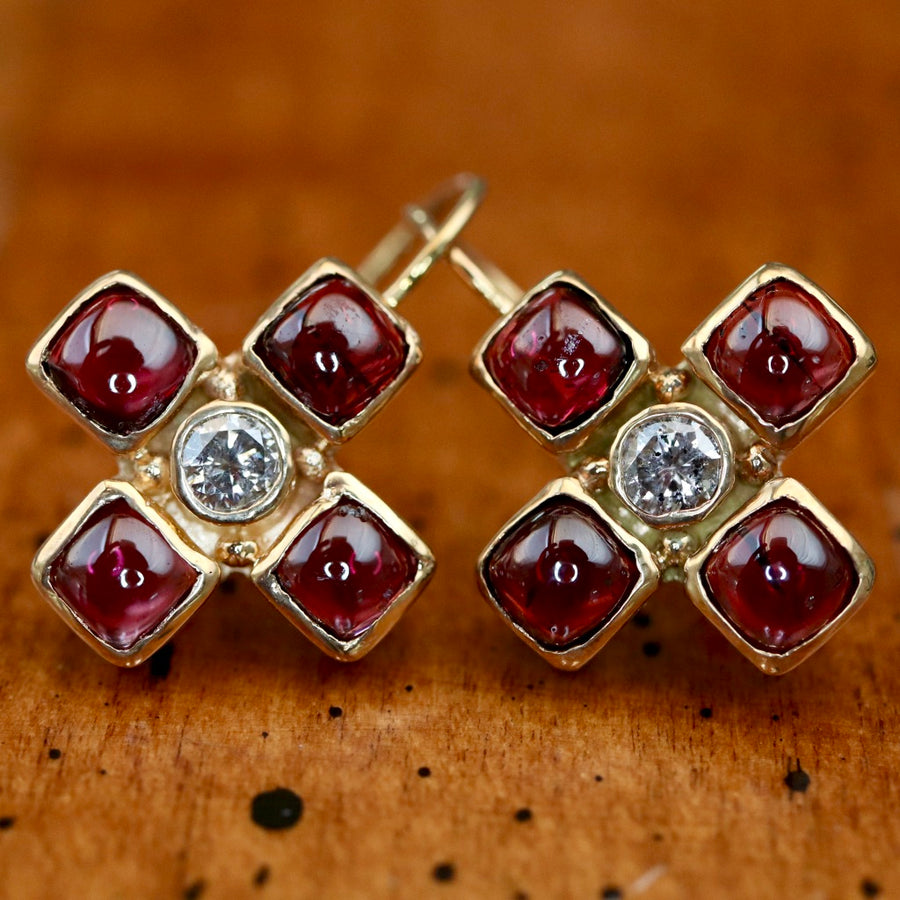 Canterbury 14k Gold, Garnet and Diamond Cross Earrings