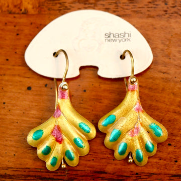 Vintage Shashi Yellow Frond Earrings