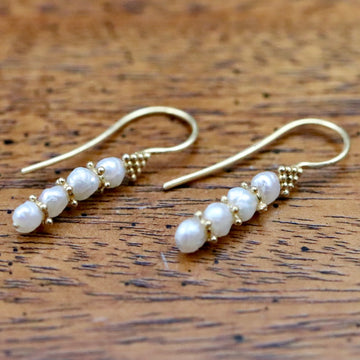 Poseidon 14k Gold and Pearl Earrings