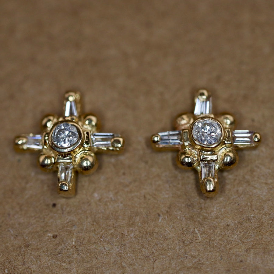 Venus 14k Gold and Diamond Earrings