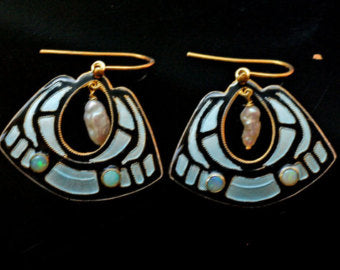 Vintage Shashi Black and Ice Pearl Enamel Gold-Vermeil Earrings