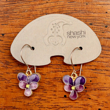Vintage Shashi Purple Pansy Flower Earrings