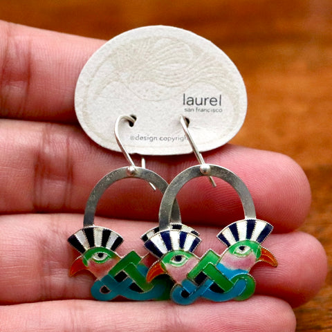 Vintage Laurel Burch Mohawk Bird Black and Turquoise Silver Earrings