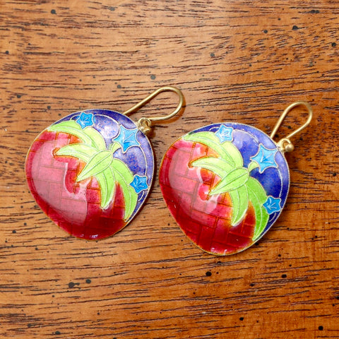 Vintage Shashi Red Lily Earrings