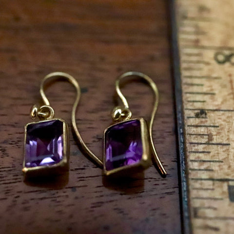 Baguette Amethyst Earrings