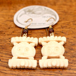 Vintage Laurel Burch Cat Face - Bone Earrings