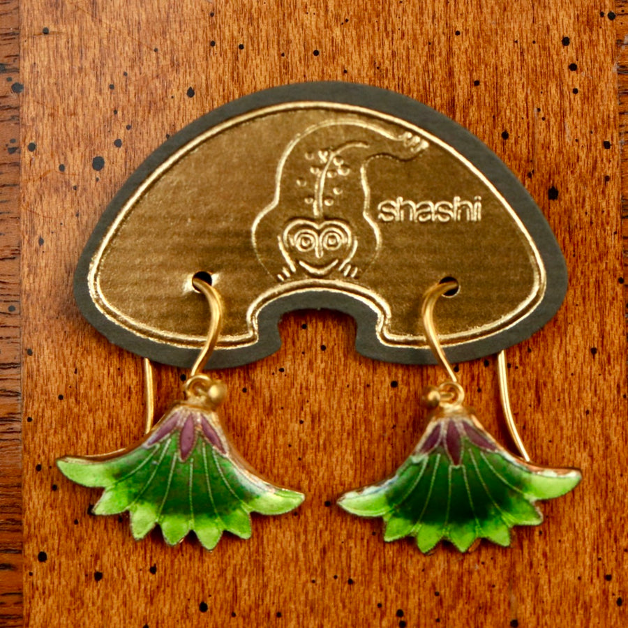 Vintage Shashi Green Papyrus Flower Earrings