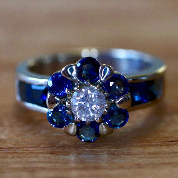 Apollonian 14k White Gold, Sapphire and Diamond Ring
