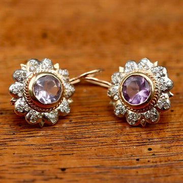 Le Sacre Du Printemps 14k Gold, Amethyst and Diamond Earrings