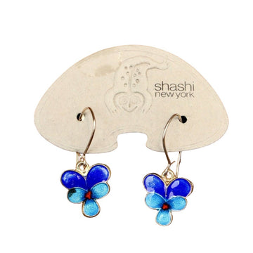 Vintage Shashi Pansy Flower Hinged-Back Earrings