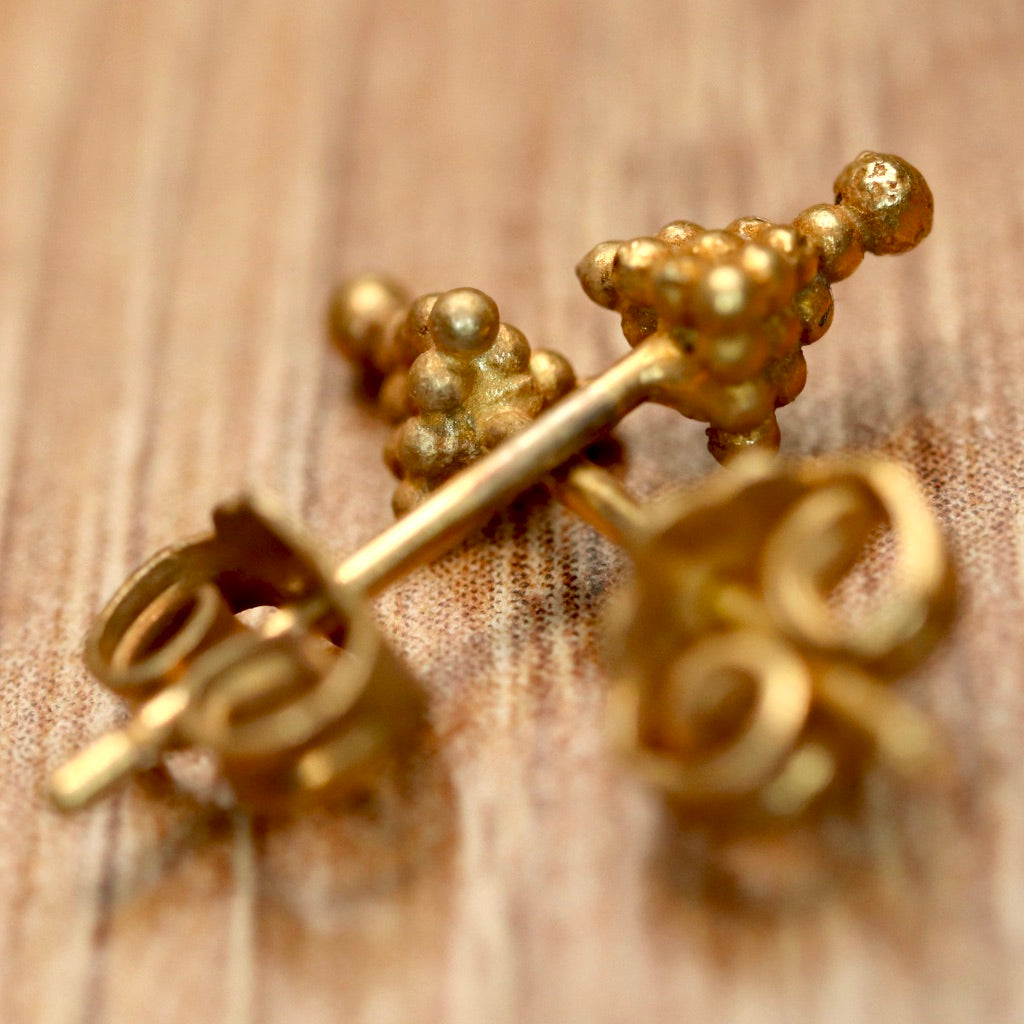 Vintage Shashi Greek Granulated Gold-Vermeil Earrings