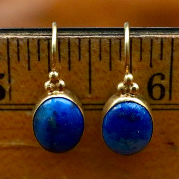 Greek Granule Lapis Earrings