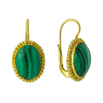 Royal Oval Malachite Earrings