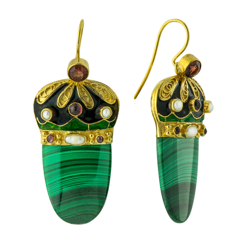 Nicholas I Malachite, Garnet & Pearl Earrings