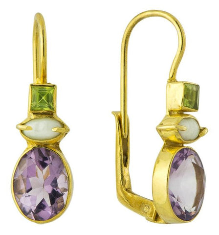 Westminster Amethyst, Pearl & Peridot Earrings