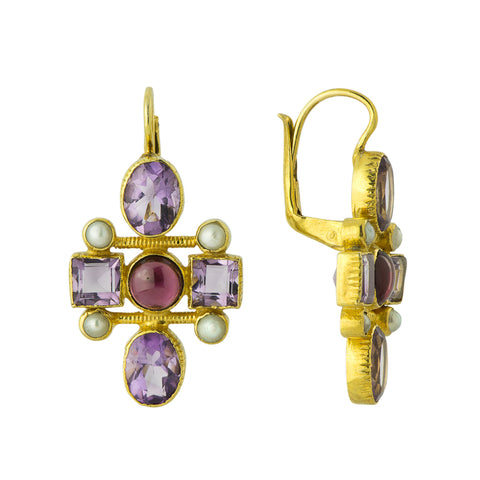 Cellini Cross Amethyst, Garnet & Pearl Earrings