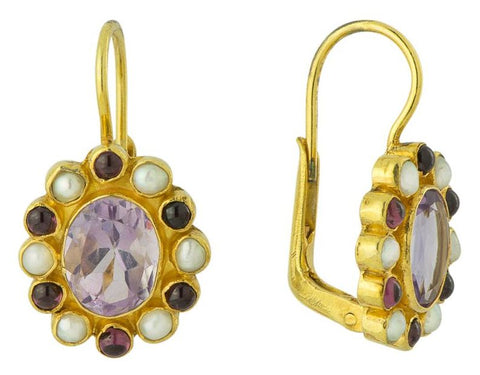 Miss Merryweather Amethyst, Garnet, & Pearl Earrings