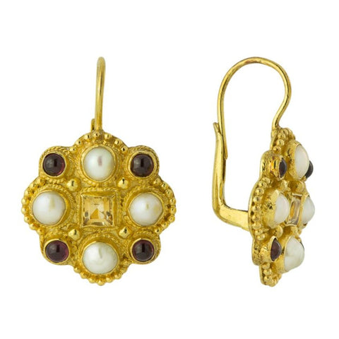 Lady Brighten Pearl, Garnet & Citrine Earrings