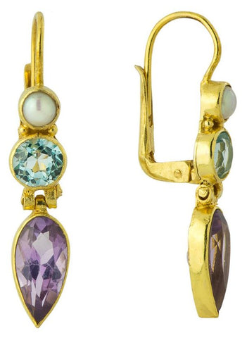 14k Ellen Terry Amethyst, Blue Topaz, & Pearl Earrings