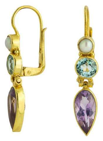 Ellen Terry Amethyst, Blue Topaz, & Pearl Earrings