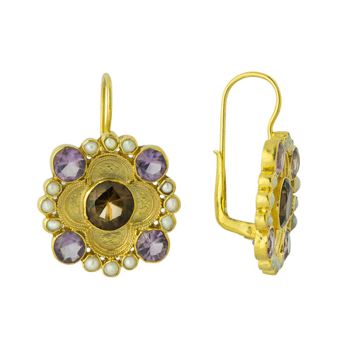 Antonio Canova Smoky Topaz, Amethyst and Pearl Earrings