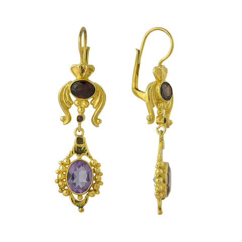 Buckingham Palace Amethyst & Garnet Earrings