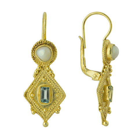 Indus Blue Topaz and Pearl Earrings