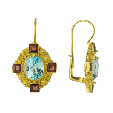 Madame d'Arblay Blue Topaz and Garnet Earrings
