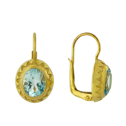Crown Blue Topaz Earrings