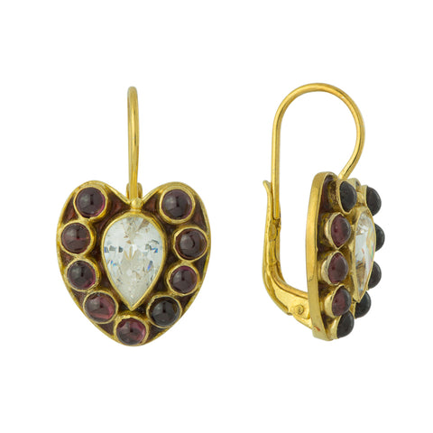 Anne of Cleves Garnet and Cubic Zirconia Earrings