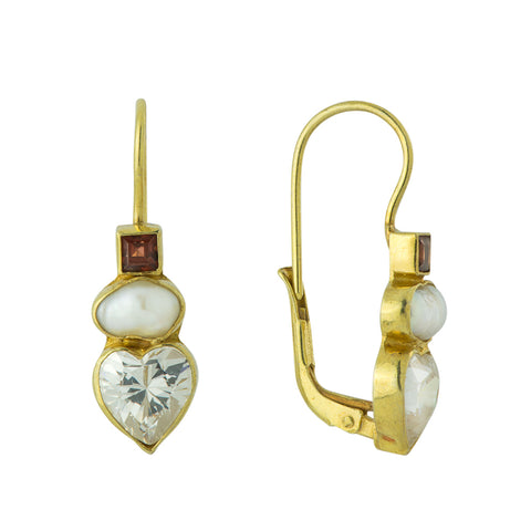 Fanny Kemble Cubic Zirconia, Pearl, & Garnet Earrings