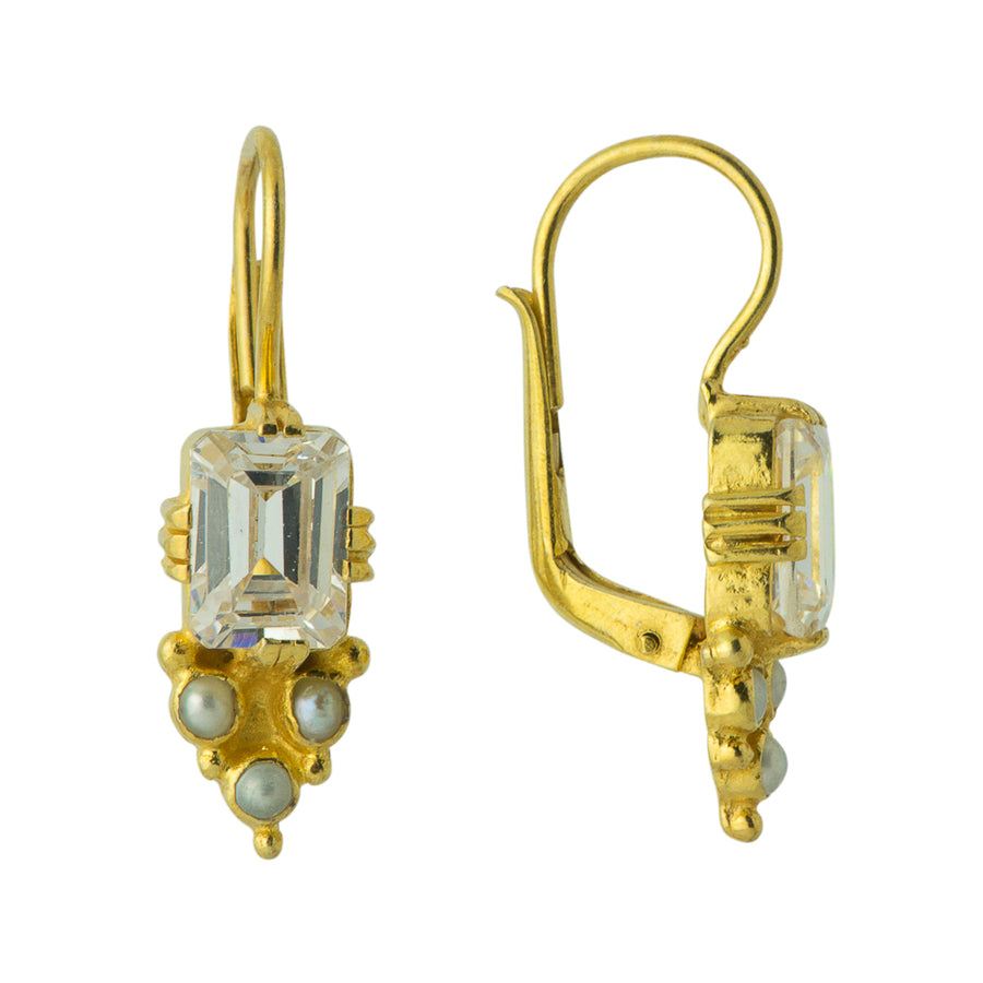 Annabel Lee Cubic Zirconia and Pearl Earrings
