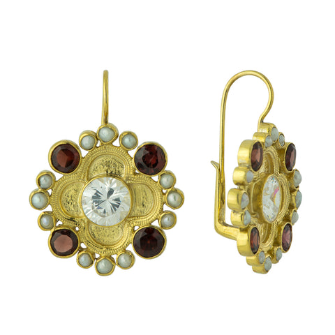 Duchess Of Alba Pearl, Garnet and Cubic Zirconia Earrings