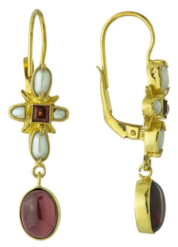 Marseille Garnet & Pearl Earrings