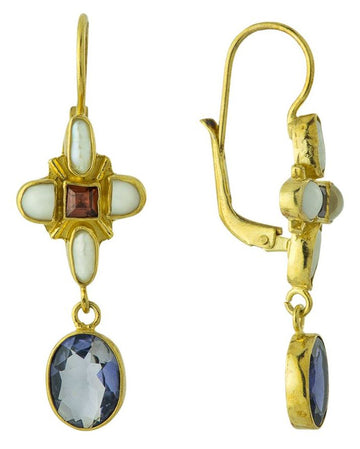 Marseille 14k Gold, Iolite, Garnet and Pearl Earrings