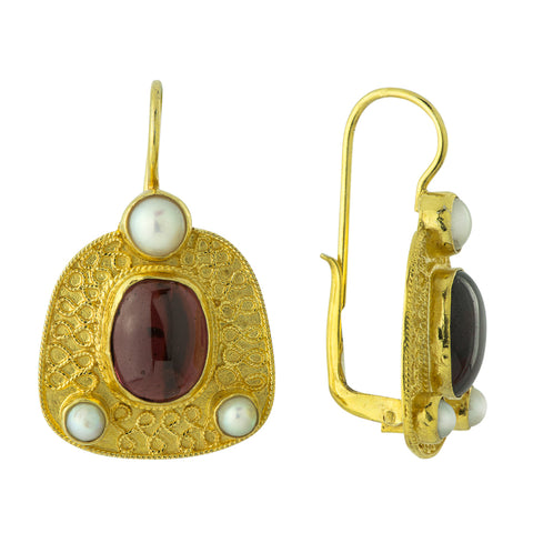 Connemara Garnet and Pearl Earrings