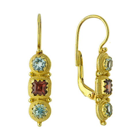Thira Blue Topaz and Garnet Earrings