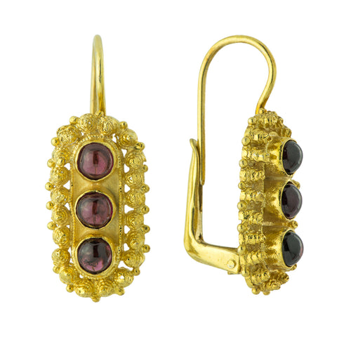 Salisbury Cross Garnet Earrings