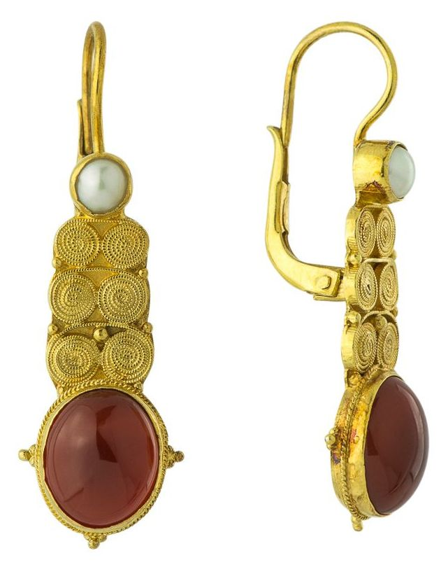 Malabar Carnelian and Pearl Earrings