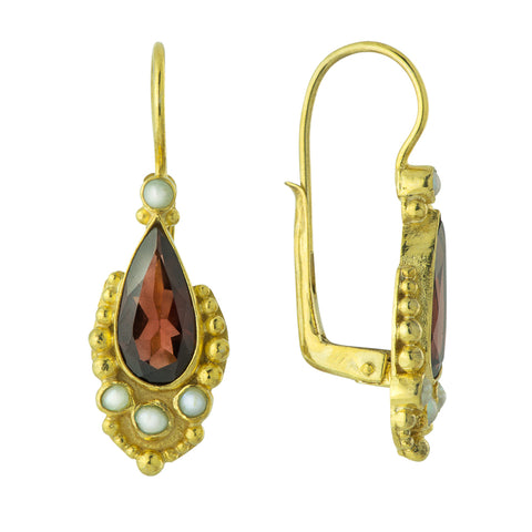 Tears of Niobe Garnet and Pearl Earrings