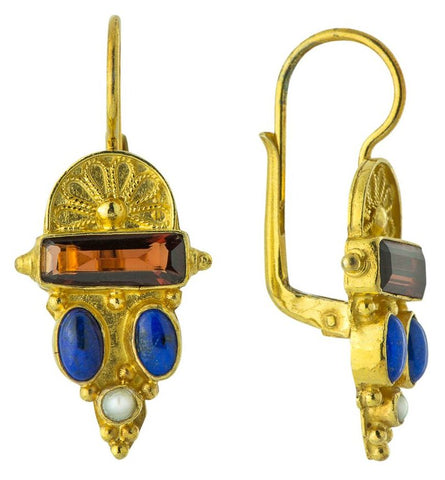 Juliet Garnet, Lapis, Pearl Earrings revival of Victorian style in sterling silver