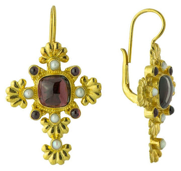 St. Paul's Garnet Cross Earrings