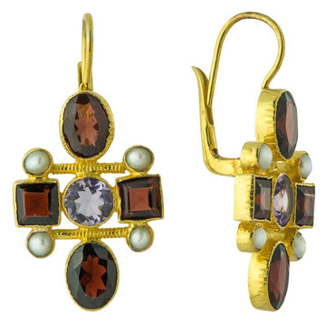 Venetian Garnet Cross Earrings