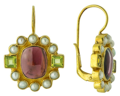 Queen Elinor Garnet, Peridot, & Pearl Earrings
