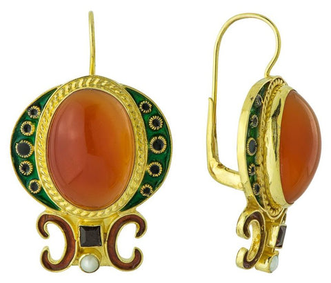 Medici Carnelian, Garnet and Pearl Earrings