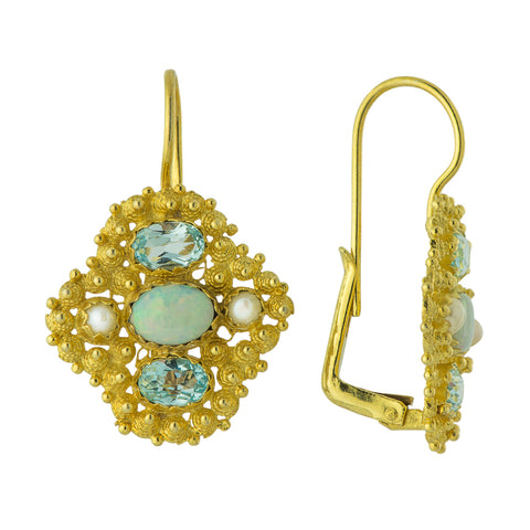 Duchess Of Newcastle Topaz, Opal & Pearl Earrings
