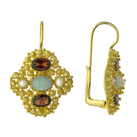 Duchess Of Newcastle Opal, Garnet and Pearl Earrings