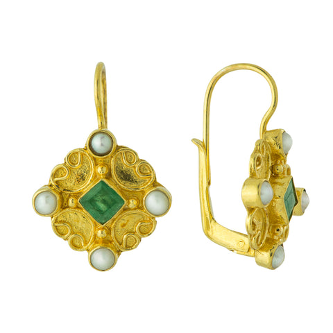 Georgian Emerald and Pearl Earrings