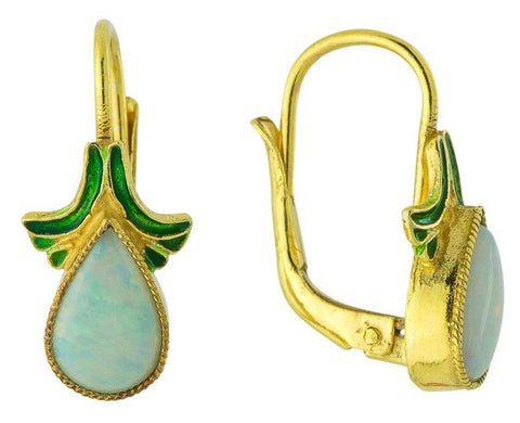 Olga Earrings: Opal and 14k Gold
